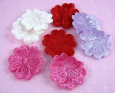 100 Mixed Embossed Velvet Flower DIY Appliques