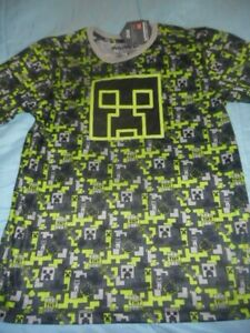 MOJANG MINECRAFT NWT Boy Large SS lime and black pullover polyester top shirt