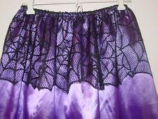 "Halloween purple satin half slip spider web peplum 25""-51"" waist sissy-XXL 1X 2X"
