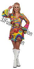 Ladies 1960s 1970s Hippy Fancy Dress Costume Hippie Flower Power Womens Outfit U