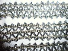 ancien galon broderie ceinture perle acier métal