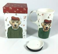 Cypress Refresh Ceramic Travel Latte Cup 17 oz With Decorative Box Scottish Dog