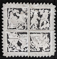Antique French Table cloth doily Linen Cutwork 17th 18th c scenes Crochet Lace
