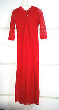 WOMEN'S RED LACE MAXI DRESS SIZE SMALL FULL-LENGTH FLORAL LINED FORMAL CLOTHES