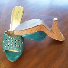 Women's Size 10 Michael Kors Blue Metal Accent Cork Slide On Heels Pumps