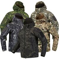 Men Waterproof Windbreaker Fleece Coat Clothes Camouflage Army Military Jacket
