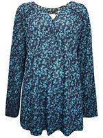 Kiabi ladies t-shirt top plus size 18/20 turquoise print elegant long sleeve