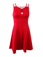 GUESS Women's Embossed Lace-Up Fit & Flare Dress (2, Red)