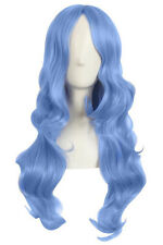 Peluca Larga Ondulada Azul Cielo 60cm, Cosplay Disfraz