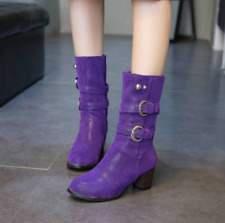Womens Block Heel Cowboy Boots Comfort Pull On Mid Calf Riding Boots Plus Size