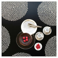 Chilewich Pressed Round Dahlia Tablemats (SET OF 8): Black, Gold, Gunmetal etc.