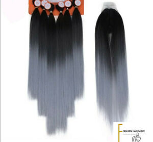 """Silver Black Hair Extensions 7Pcs 16-20"""" Synthetic Weave With Closure"""
