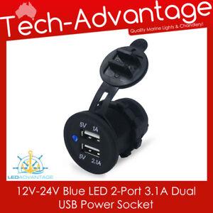 12V-24V FLUSH MOUNT BLACK DUAL 2-PORT 3.1A BLUE LED USB CHARGER POWER SOCKET