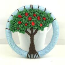 Handmade Wool woven tree hanging hoop art summer apple tree weaving