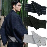 Japanese Mens Kimono Yukata Stiff Kaku Obi Belt Easy Kai No Kuchi Musubi Blue