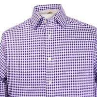 Charles Tyrwhitt Classic Non Iron Mens 15.5 Purple Gingham LS Button Front Shirt