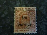 CEYLON POSTAGE STAMP ON SERVICE SG022 TWO CENTS RED BROWN LIGHTLY-MOUNTED MINT