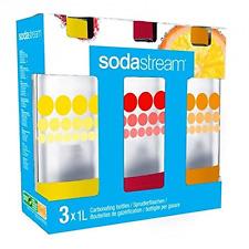 Sodastream 3000036 Lot de 3 Bouteilles Bulles de Couleur Plastique Jaune/Rouge/O