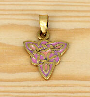 Irische Anhänger Dreieckig   _ Bronze Trifft Emaille _  Keltische  Knoten