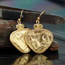Omer 925 k Sterling Silver Mustang Horse Coin Earrings Turkish Fine Jewelry