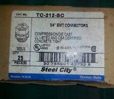 "NEW, THOMAS & BETTS TC-212-SC 3/4"" EMT ST. COMPRESSION CONNECTOR  ( BOX OF 25 )"