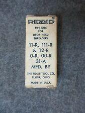 Ridgid 1 Pipe Replacement Die Set 12 R 11 R 00 R 0 R 111 R 31 A