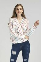 Womens Multi Color Striped Long Sleeve Button Summer Shirt Casual V Neck Blouse