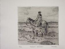 Kim Mackey    Original Hand Signed and Numbered   Etching    Indian On Horse