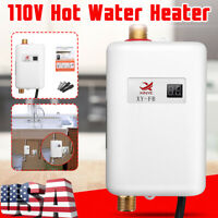 110V 3000W Instant Electric Tankless Hot Water Heater Shower Kitchen Bath Mini