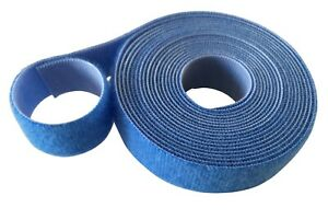 BLUE 2CM wide VELCRO® Brand One-Wrap® Double Sided Strapping Cable Ties