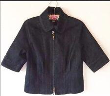 Kenneth Cole Womens Dark Wash Denim Zip Up Short Sleeve Jacket Size 4