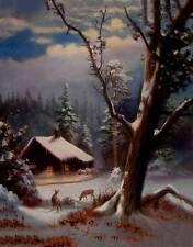 Snowy Moon Night Cabin Deer R A Fox