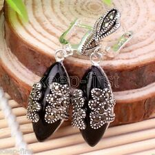 Fashion Natural Black Agate 925 Sterling Silver Marcasite Leverback Earrings