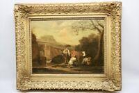 Gemälde Barocklandschaft mit Kühe und Figuren wohl Joseph Roos