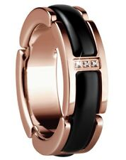 Bering Time Jewellery Ring Stainless Steel Ceramic Black Rose Gold Plated 49 (15.6 Mm Ø)