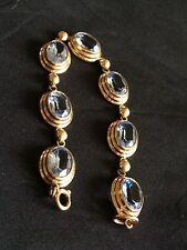 Bracelet Plaque Belle Facture Aigue Marine Synthetique Long 17 Petit Poignet