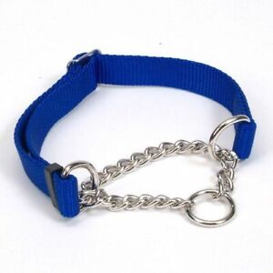 "NWT Coastal Choke Check Chain Nylon Martingale Dog Puppy Collar BLue 20"" Large"