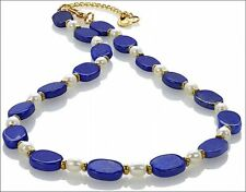 """Egyptian Lapis Oval Beads and Fresh Water Pearl Necklace 17""""  with 2"""" Extender t"""