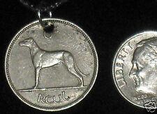 ANTIQUE IRISH IRELAND CELTIC GREYHOUND/ WOLFHOUND/ HARP PENDANT COIN NECKLACE