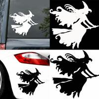 KE_ Witch on Broomstick Halloween Car Reflective PET Decals Sticker Decor Effi