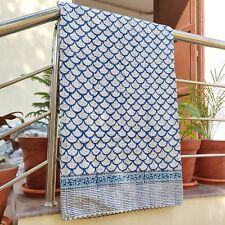 Indigo Kantha Bedcover  White & Blue Single Blanket Bedspread Throw Coverlet 39