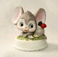 """Vintage Napco Mouse Figurine Red Lady Bug Flowers Taiwan Porcelain Bisque 2.25"""""""