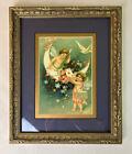 Ornate Gold Wood Framed Cherub/Fairy Print-Valentines ,Navy Blue Matte 10x8