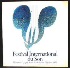 Festival international du son Paris 1977 LP M & CV EX