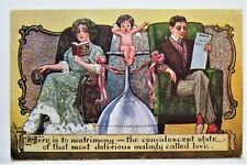 A/S RYAN 'Here's to Matrimony' CUPID Yawns COUPLE Embossed Postcard
