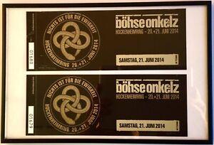 böhse onkelz VIP tickets, 2st.( Hockenheimring 21.06.2014), Glasrahmen Neu.