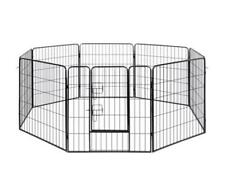 Metal Pet Playpen Cage + Door 8 Panel Black Animal Enclosure Dog Play Pen Kennel