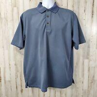 GrandSlam Mens Golf Polo L Blue Black Striped Short Sleeve Three Button