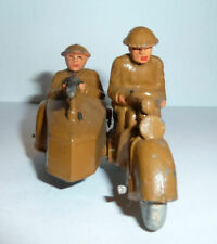 VINTAGE MANOIL/BARCLAY ARMY MOTORCYCLE WITH SIDE CAR AND MACHINE GUN