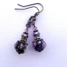 Victorian Style Glass Drop Earrings Black w/Purple Roses and Crystals Bronze